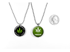 Legalize Marijuana Weed Protest 2 Sided Necklace