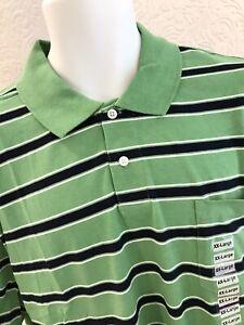 NEW Shirt Golf Polo XXL Mens Casual Cotton Poly JOHN ASHFORD Green Navy