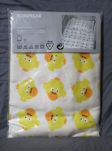 "New Ikea Kompisar Yellow Duck Quilt Cover & Pillowcase Set for Crib 45""x 51"""