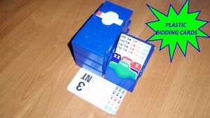 Bridge Bidding Boxes with Plastic Bidding Cards (set of four, deep blue)