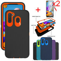 For Samsung Galaxy A21 Case Shockproof Hybrid Phone Cover Glass Screen Protector