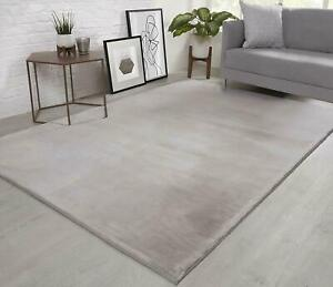 Natural Faux RABBIT FUR Rug Soft Wool Shaggy Thick Large Rugs Carpet Mat Silver