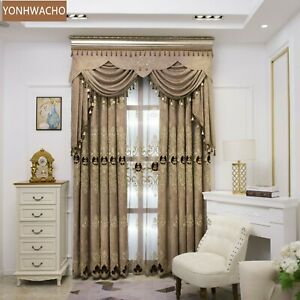 chenille European embroidered coffee cloth blackout curtain valance tulle C388