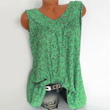 Women's Casual Blouse V-Neck Loose Floral Printed Tank Tops T-Shirt Plus Blouse
