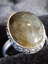 labradorite  acts as a supreme healing stone silver ring size 8 us