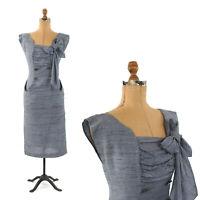 Vintage 50s Blue Rayon Dolman Sleeve Hourglass Rockabilly Cocktail Dress S