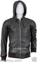 New Men Lambskin Hood Bomber Motorcycle biker Genuine Leather Jacket Cafe Racer