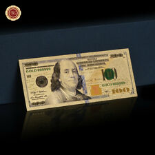 WR Colour $100 US Hundred Dollar Bill Gold Foil Note American Dollar Collection