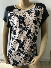DKNY Womens Size Small Short Sleeve Floral Print T Tee Shirt Blouse