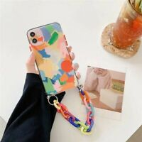 For iPhone 12 Pro Max 7 8 11 XS Max XR Phone Case Rainbow Chain Bumper Cover