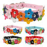2.5cm wide Cute Flower Studded Leather Dog Collars for Poodle French Bulldog