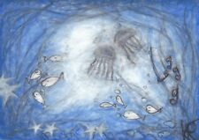 """Painting """"Under Water World"""", - abstract -, ORIGINAL, watercolors, NEW & TOP !"""