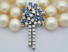 Three Pearl Strand Necklace, Platinum Clasp with Diamonds and Sapphires, about $