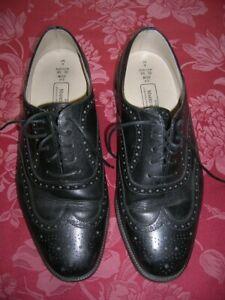SALE Vgc Marks & Spencer Black Leather BROGUES UK 9 Wide Fit Mens Ladies