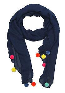 niedlicher Damen Schal mit Bommeln Bommel Tuch Frühling Sommer Herbst winter