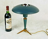 Mid century LOUIS KALFF for philips Tripod petrol green table lamp 1950