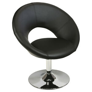 Black Faux Leather Swivel Pod Chair - Ex Display