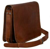 Men's Leather Messenger Bag Shoulder  Genuine Vintage Brown Laptop Bag Briefcase
