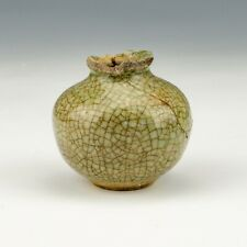Antique Song Dynasty Chinese Pottery - Celadon Crackle Glazed Miniature Vase