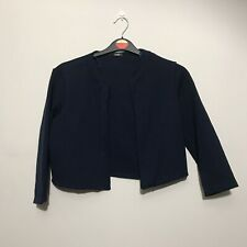 Quiz Ladies Navy Blue Bolero Cropped Jacket UK 14 C24