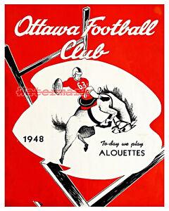 CFL 1948 Ottawa Rough Riders Game Program Cover REPRINT Color 8 X 10 Photo Pic