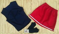 "Girl Teen Jr Red Navy Cheerleader Uniform Top Skirt Socks 28-30/22-25"" Cosplay"