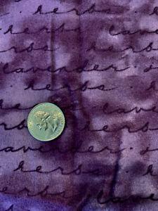 "1 1/3 yds Northcott ""Herbal Garden"" Herb Script on PurpleCottonFlannel FabricOOP"