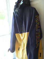 NAUTICA MENS LARGE (MEASURES BIGGER) HOODED JACKET-YELLOW & NAVY-FULLY LINED