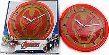 MARVEL AVENGERS WALL CLOCK NEW OFFICIAL IRON MAN 24cm BEDROOM NEW QUARTZ BOXED