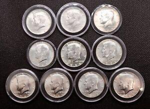 Lot of 10 Silver Kennedy Half Dollars AU/BU (See Description Below)