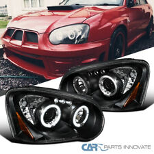 For Subaru 04-05 Impreza WRX LED Halo Projector Headlights Lamps Black Clear