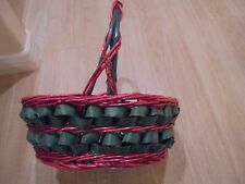 Large Red & Green Christmas Holiday Whicker Decorative Basket 13x13x6 w Handle