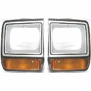 For Dodge Pickup Truck Headlight Headlamp Bezel Pair Set w Corner Parking Lights