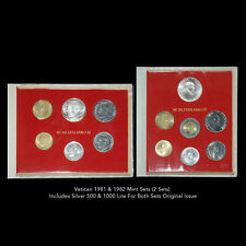VATICAN 1981 & 1982 MINT SETS (2 SETS) INCLUDES SILVER 500 AND 1000 LIRE