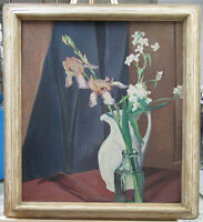 Edith Jackson Green Impressionist Floral Still Life of Irises Listed Ogunquit