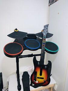 Wii Band Hero Guitar Hero Nintendo Wii Drums And Guitar Bundle (UNTESTED)
