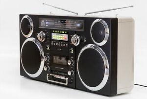 GPO BROOKLYNBLACK Brooklyn Bluetooth Boombox 80W CD Cassette FM USB Re