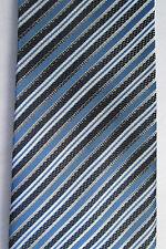Blue and Silver Striped Necktie Zermat International 100% Silk Tie