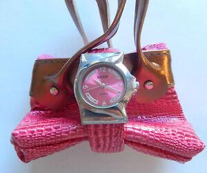 Watch Womans Cuff-pink-round face-pink band matching zippered  bag