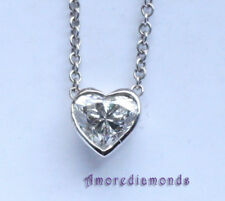 0.5 ct EGL E SI1 heart shape bezel solitaire pendant white gold cable chain 16""