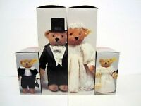 Mint 1987 Steiff Wedding teddy Bear Party:  Bride. Grrom, Fower and ring Bearers
