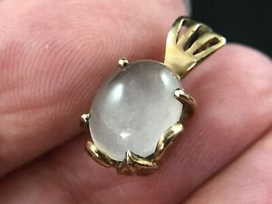 Hallmarked 375 9ct carat yellow gold moonstone pendant, DK, Art Nouveau inspired