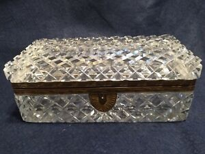 French Cut Crystal Ormolu Dresser Jewelry Box