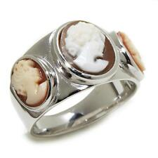 """AMEDEO """"TRE DONNE"""" OVAL 3-CAMEO STERLING SILVER BAND RING SIZE 8 HSN $169.95"""