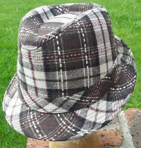Checked biege and  brown trilby. Brand new with tags.