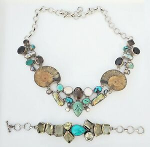Sterling Silver Statement Necklace Turquoise Smokey Quartz Fossil Abalone Pearl