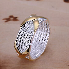 925 Silver Plt Chainmail Mesh Intertwined Gold Band Ring Woven Wicker Thumb a