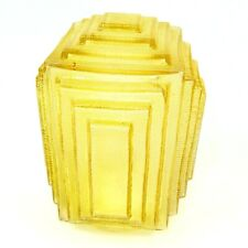 Art Deco Ceiling Light Porch Hall Glass Globe Fixture Rectangle Square Yellow
