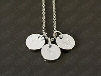 Silver Initial Stamped Disc Personalised Letter Alphabet Necklace Up To 5 Discs