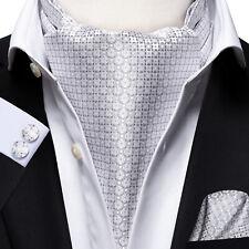 Mens Silk Ascot Cravat Silver Red Novelty Paisley Cufflinks Hanky Set Wedding